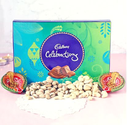 Celebrations with Diya and chocolates pack