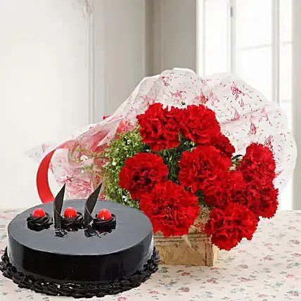 Chocolate Cake with Flowers