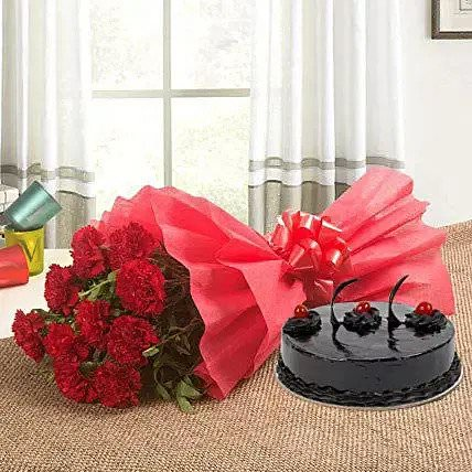 Chocolate Cake with Flowers Combo